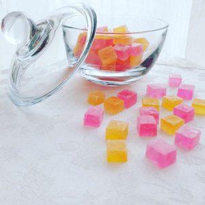 フルーツビネガーの琥珀糖 in ビタミンカラー – Kohaku jelly-candy with fruits vinegar