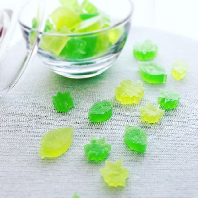 新緑の季節の琥珀糖 – Kohaku Jelly-Candy of new green leaves