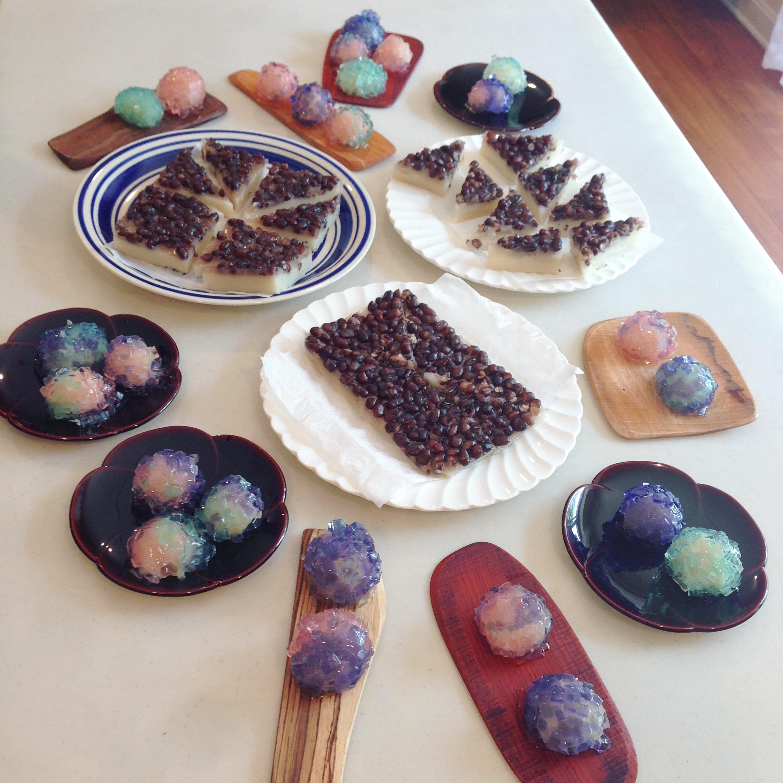 紫陽花と水無月 和菓子教室