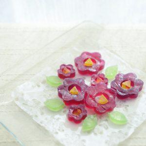 赤紫蘇ジュースの琥珀糖 Kohaku jelly-candy of Camellia