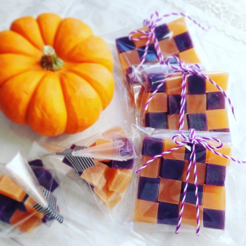 Purple potato and Pumpkin taste Kohaku jelly-candy 紫芋とかぼちゃの琥珀糖