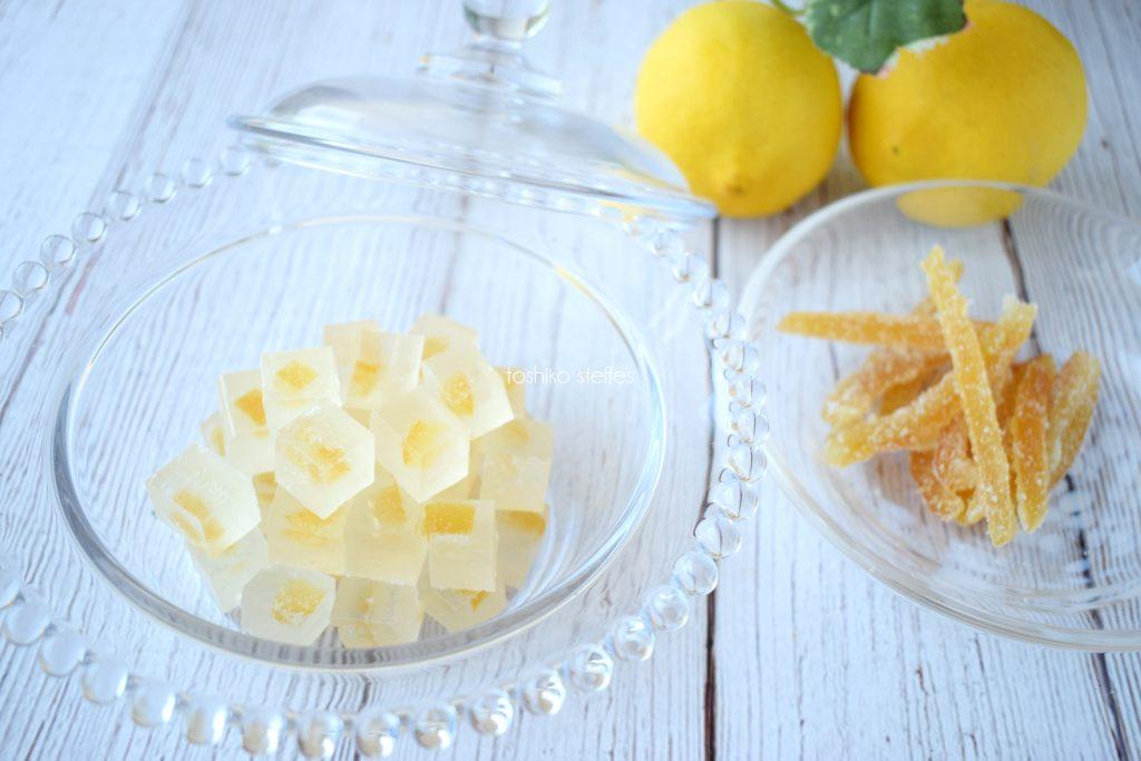 レモンピールの琥珀糖